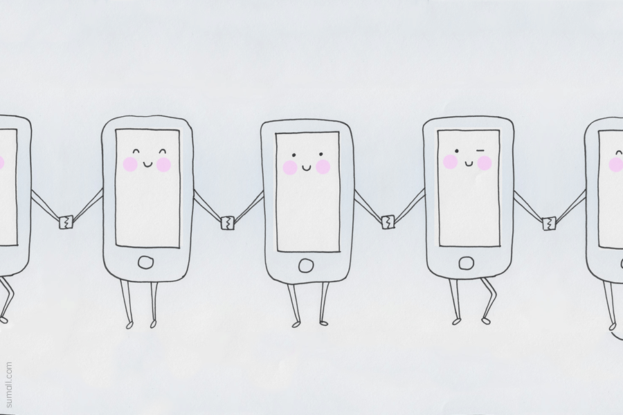Cartoon Mobile Phones Holding Hands