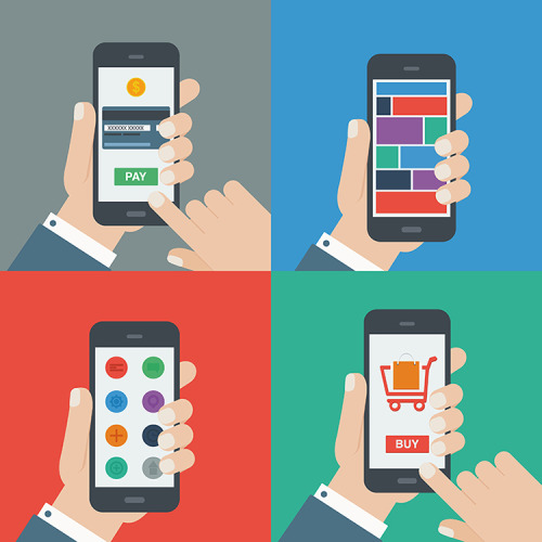 Image: Different Smartphone Interactions, with four examples. Illustrated.