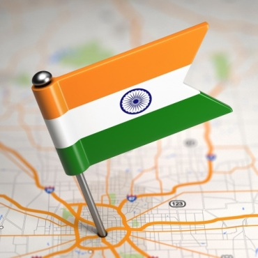 India Flag pinned into a map