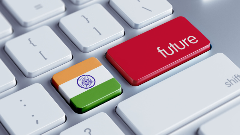 IMAGE: Mac Keyboard with keys showing Indian flag and 'FUTURE'.