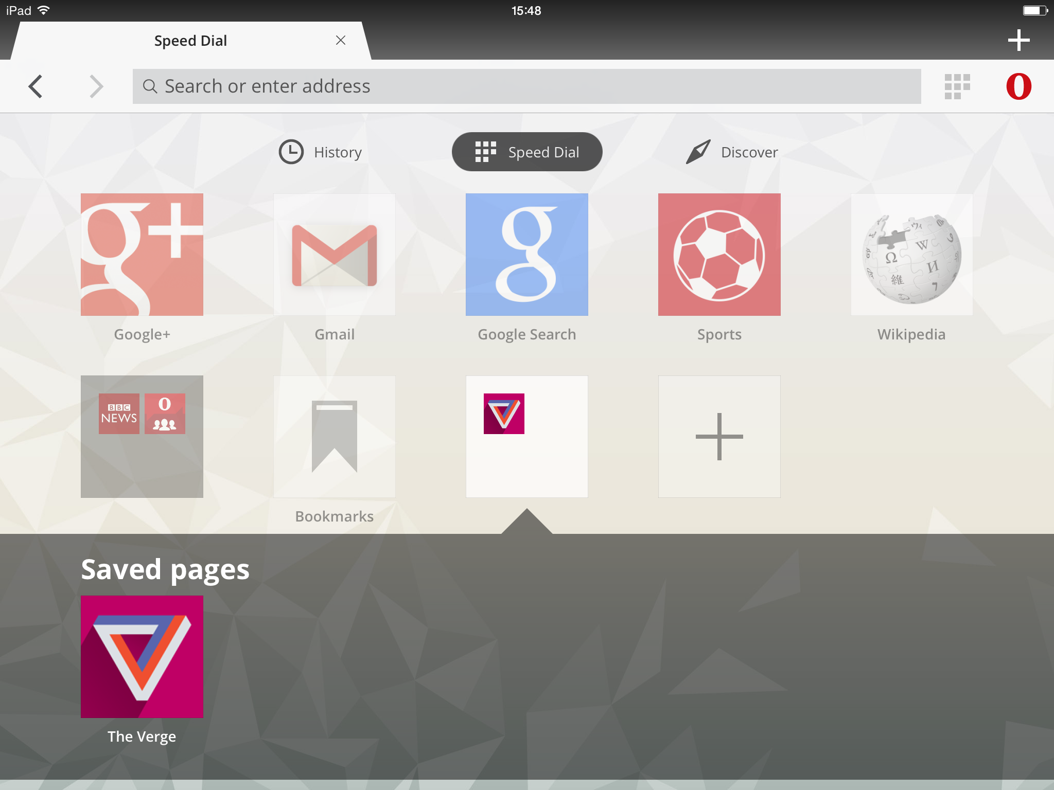 IMAGE: Opera Mini iPad Screenshot